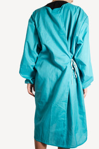 Isolation gown - Turquoise - re-usable - cotton / poly mix - free shipping - FDA Level 2