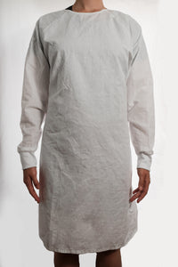 Isolation gown - WHITE - re-usable - cotton / poly mix - free shipping - FDA Level 2