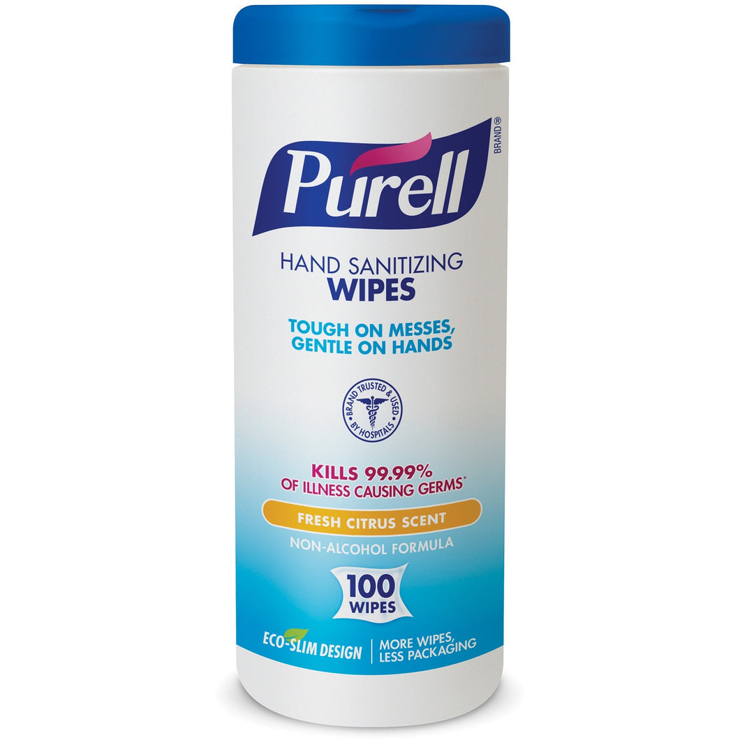 Purell® Disinfecting Wipes - 1 canisters of 100 wipes - Fresh Citrus Scent - kills 99.99% of germs