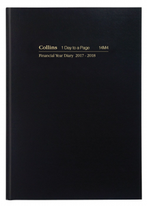 DIARY COLLINS F/YEAR A4 14M4 1 DAY/PAGE BLACK