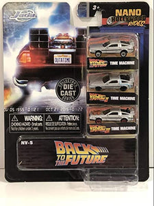 "Back to The Future TIME Machine Delorean 3 Pack Nano 1.65"" diecast Cars"