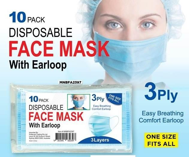 FACE MASK w/EARLOOP 3 PLY 10 PACK