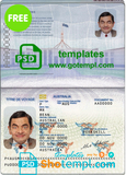 Australian passport (Convention Travel Document) template in PSD format, fully editable, with all fonts