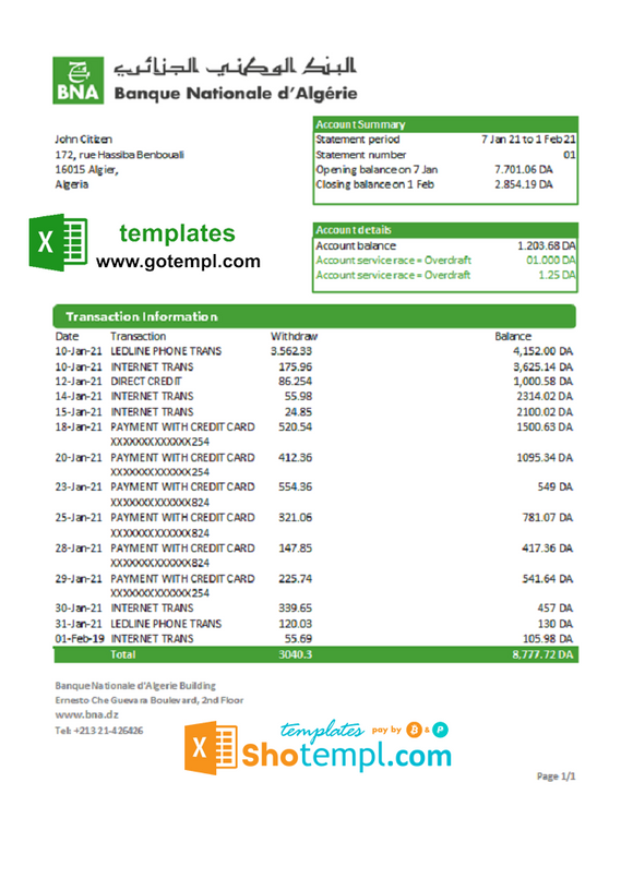 Algeria Banque nationale d'Algérie (BNA) bank statement template in Excel and PDF format
