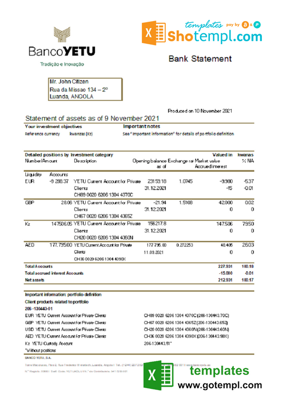 Angola Banco Yetu bank statement template in Excel and PDF format