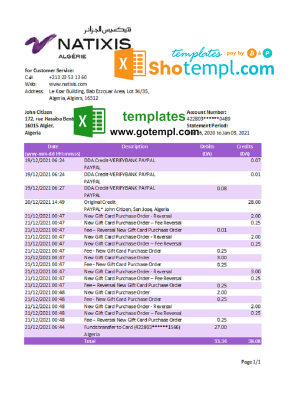 Algeria Natixis Algerie bank statement template in Excel and PDF format