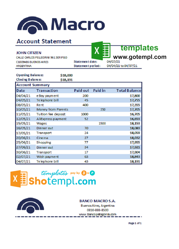 Argentina Macro S. A. bank statement template in Excel and PDF format