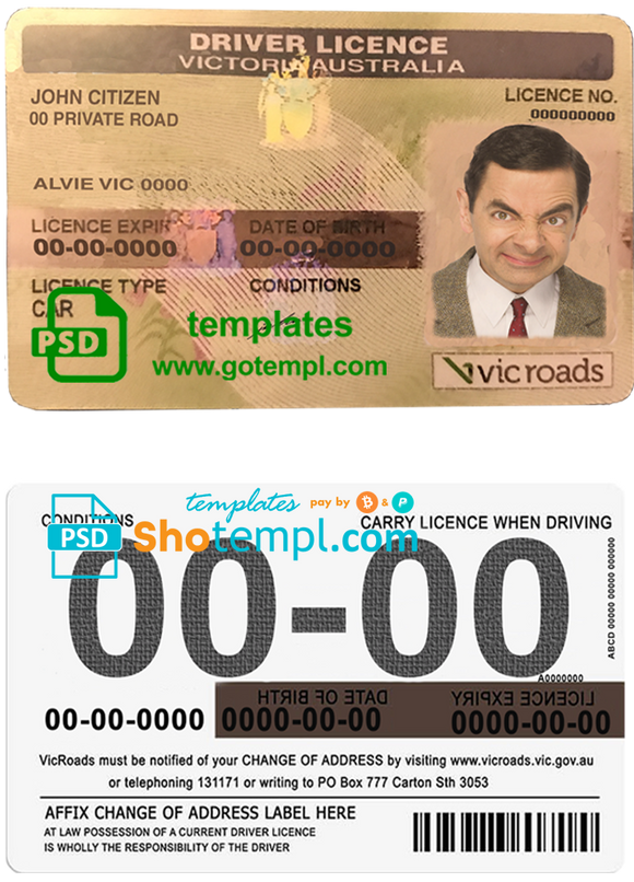 Australia Victoria state driving license template in PSD format, fully editable, with all fonts