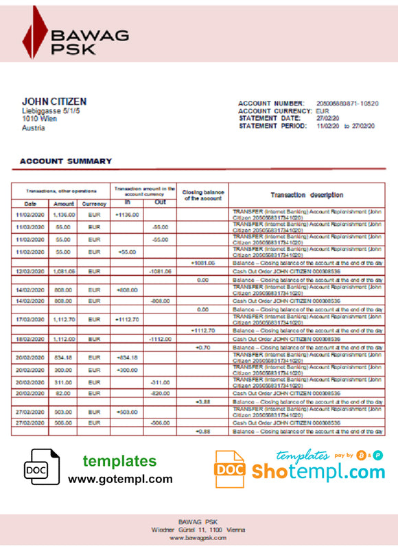 Austria BAWAG PSK bank statement template in Word and PDF format