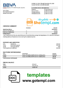 Argentina BBVA proof of address bank statement template in Word and PDF format (.doc and .pdf)