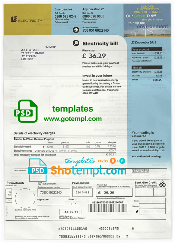 United Kingdom electricity utility bill template in PSD format