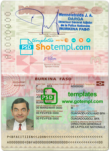 Burkina Faso passport template in PSD format, fully editable