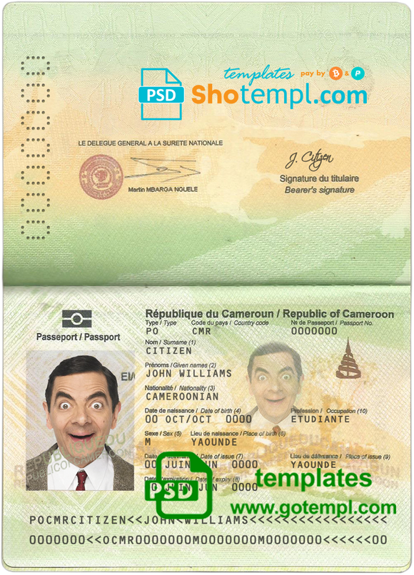 Cameroon passport template in PSD format