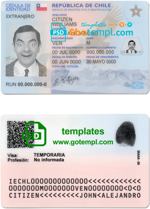 Chile ID template in PSD format, fully editable, with all fonts