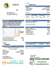 USA California City of St Helena utility bill template in Word and PDF format