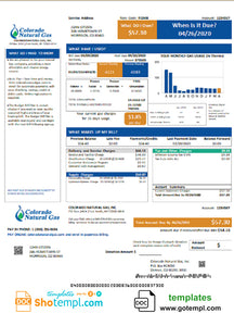 USA Colorado Natural Gas utility bill template in Word and PDF format