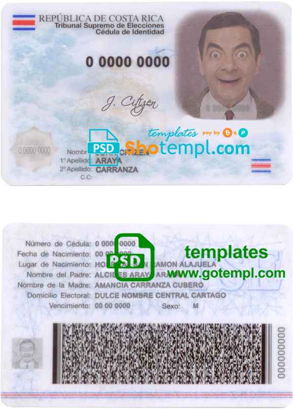 Costa Rica ID template in PSD format