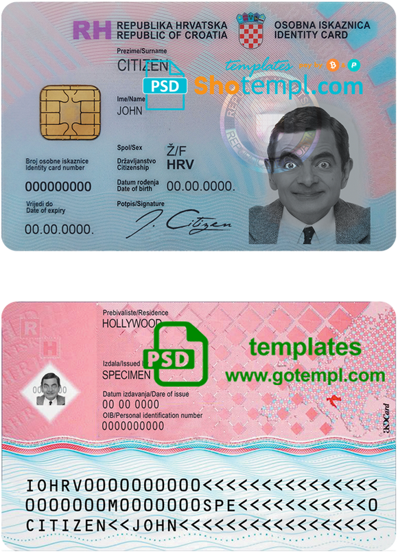 Croatia ID template in PSD format