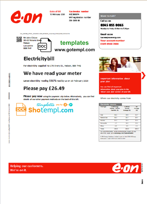 United Kingdom E.ON utility bill template in Word and PDF format, version 3