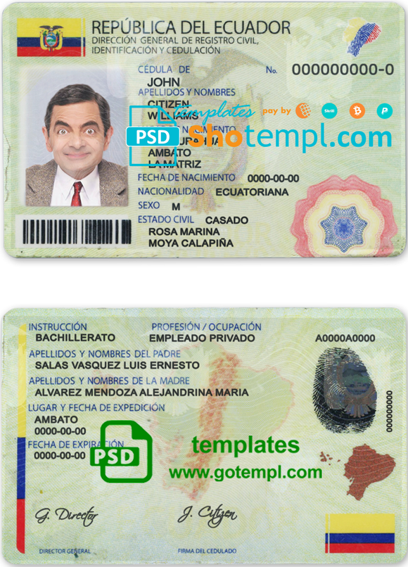 Ecuador ID template in PSD format, fully editable