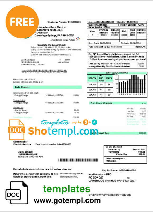 USA Northwestern Rural Electric utility bill template, fully editable in Word and PDF format