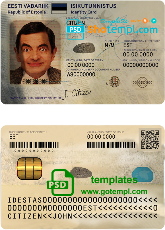 Estonia ID template in PSD format, NEW version (2018 - now)