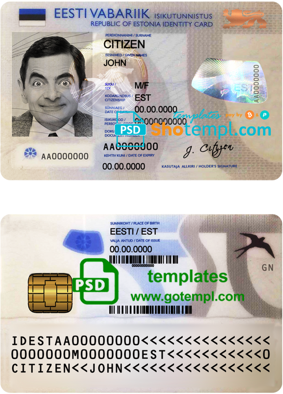 Estonia ID template in PSD format