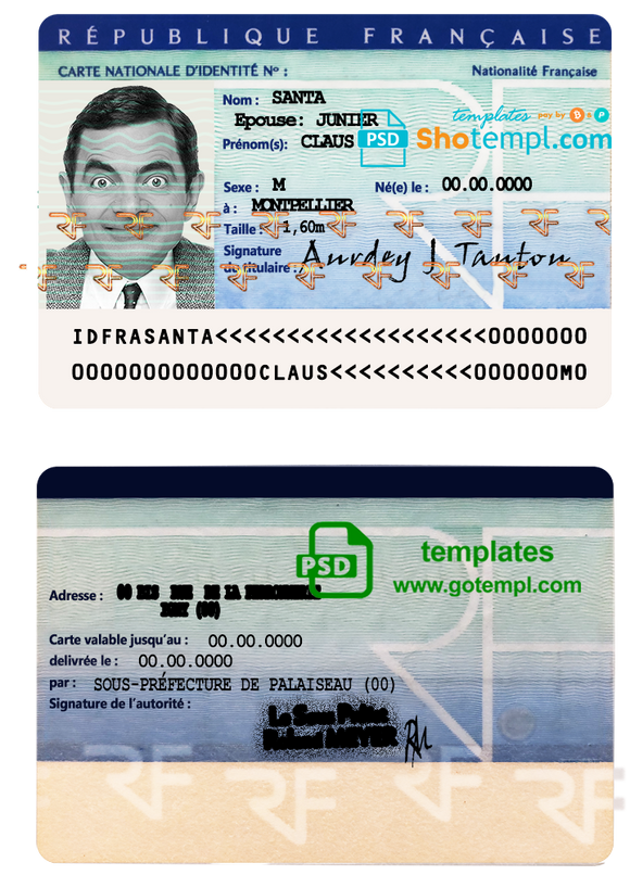 France ID template in PSD format