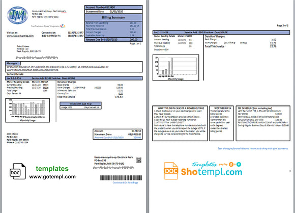 USA Minnesota Itasca-Mantrap electricity utility bill template in Word and PDF format