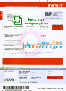 Ireland Meteor utility bill template fully editable in PSD format