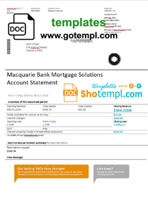 Australia Macquaire proof of address bank statement template in Word and PDF format (.doc and .pdf)