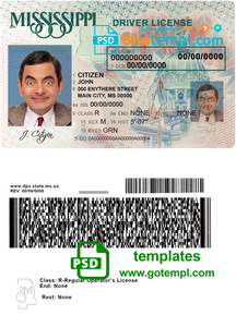 USA Mississippi driving license template in PSD format