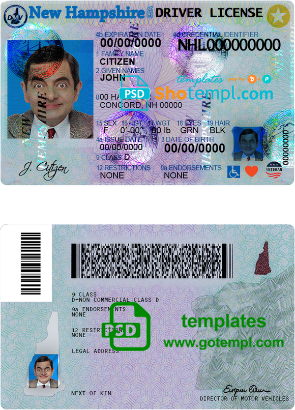 USA New Hampshire driving license template in PSD format