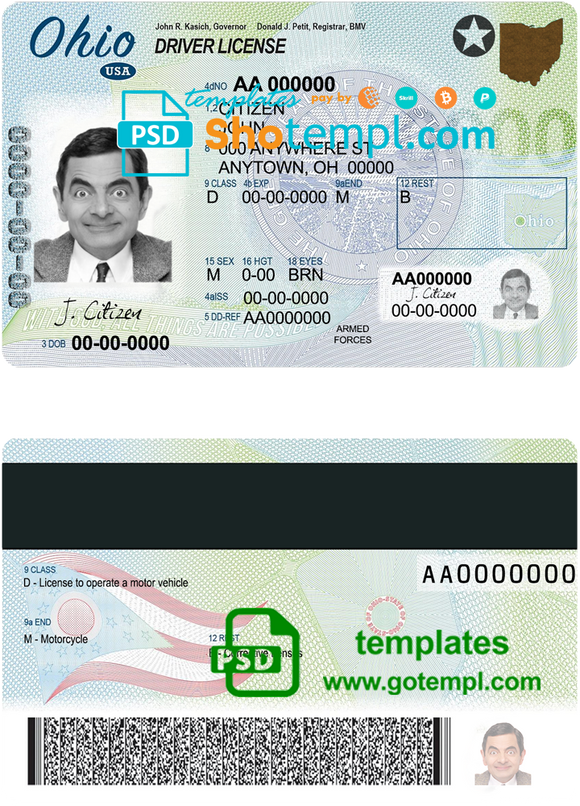 USA Ohio state driving license template in PSD format
