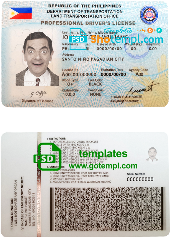 Philippines driving license template in PSD format