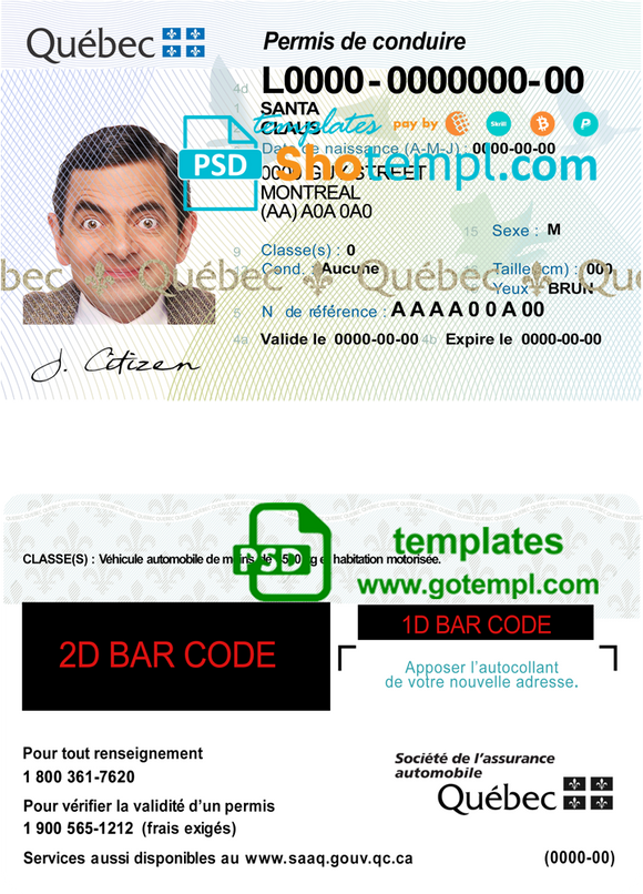 Canada Quebec driving license template in PSD format