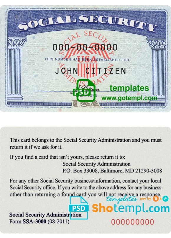 USA SSN (Social Security Number) templates in PSD format