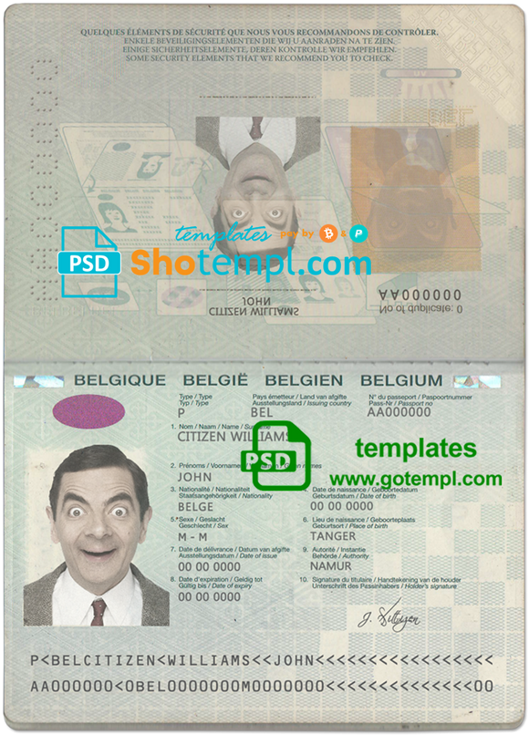 Belgium passport template in PSD format
