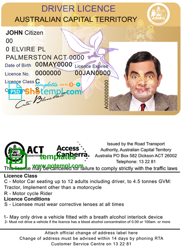 Australia Capital state driving license template in PSD format, fully editable, with all fonts