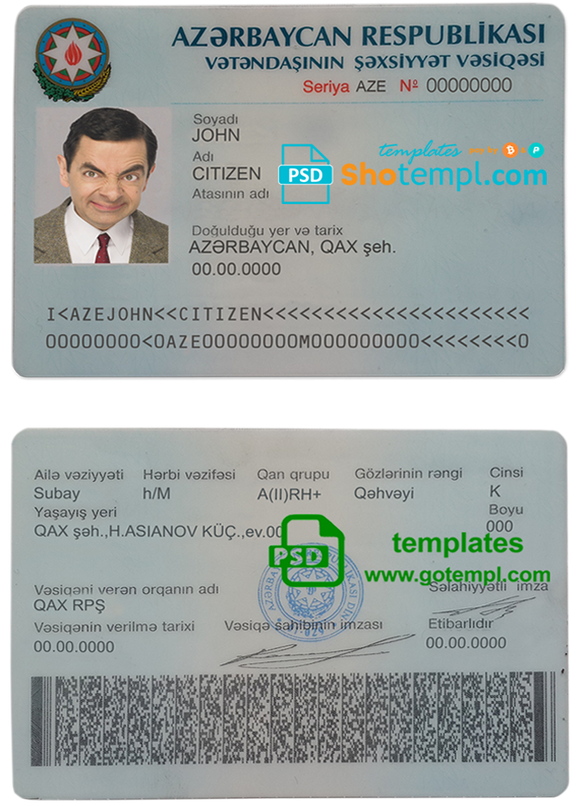 Azerbaijan driver license template in PSD format, fully editable, with all fonts