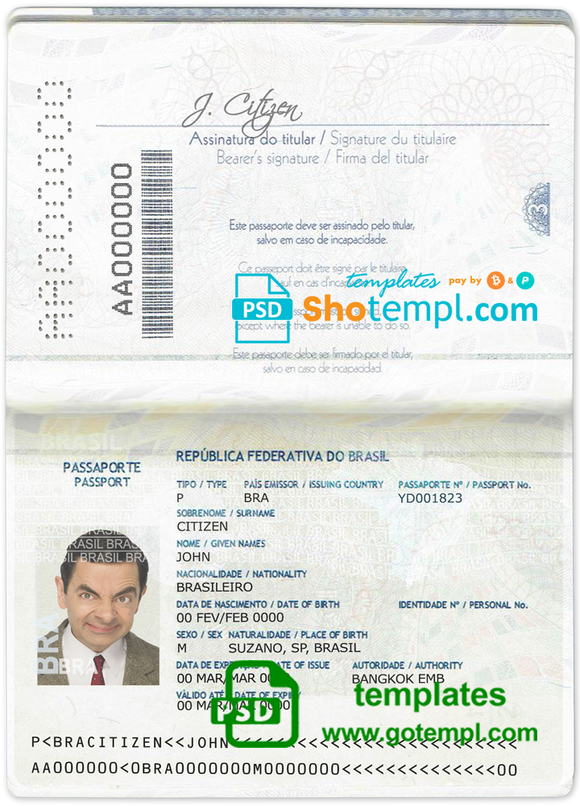 Brazil passport template in PSD format, fully editable