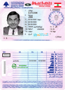Lebanon driving license template in PSD tormat, fully editable