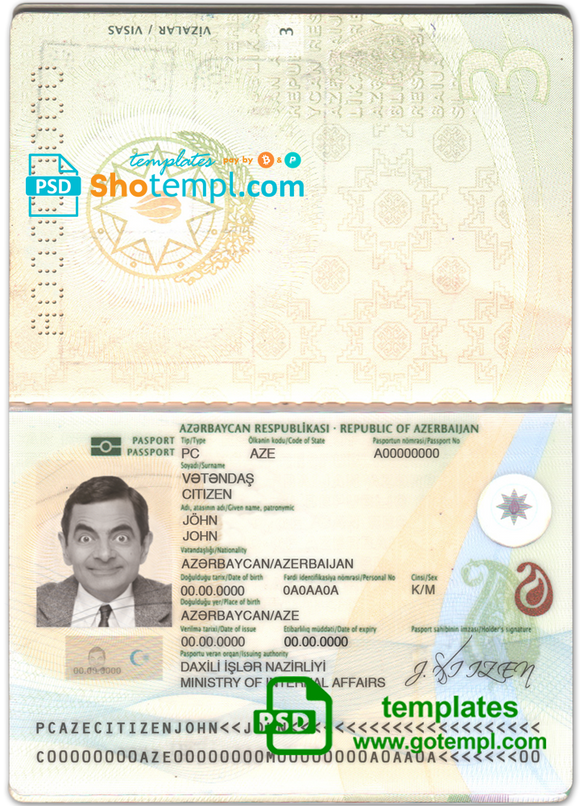 Azerbaijan passport template in PSD format, fully editable