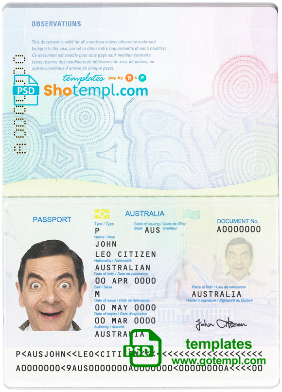 Australian standard passport template in PSD format, fully editable, with all fonts