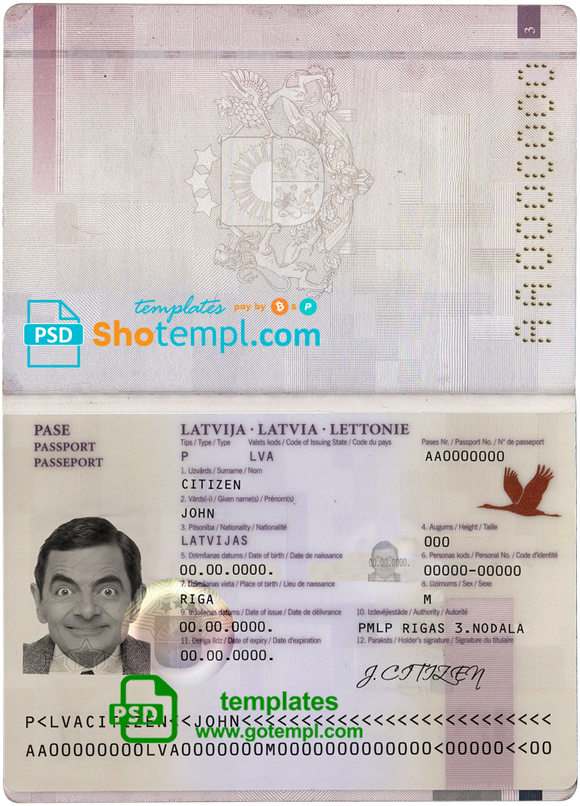 Latvia passport template in PSD format, fully editable