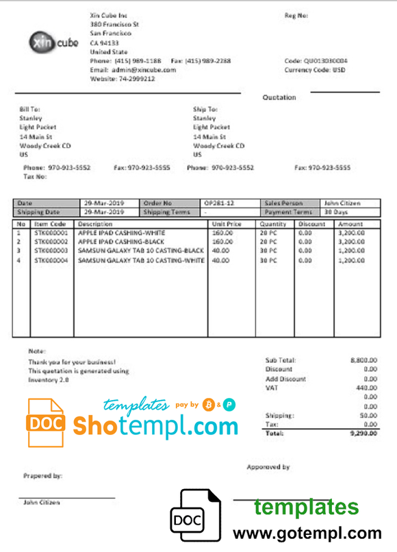 USA San Francisco Xincube utility bill template in Word and PDF format