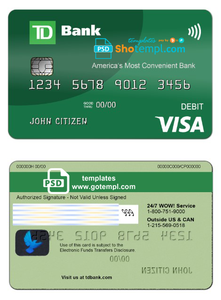 USA TD Bank Visa Debit Card template in PSD format, fully editable