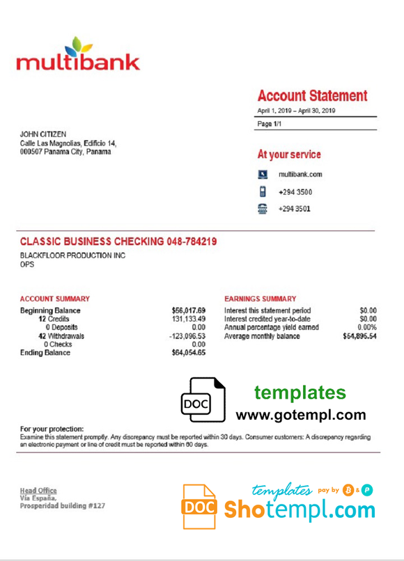 Panama Multibank proof of address bank statement template in Word and PDF format