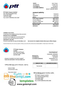 Thailand PTT gas utility bill template in Word and PDF format