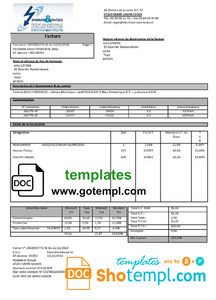France energy utility bill template in Word and PDF format, fully editable